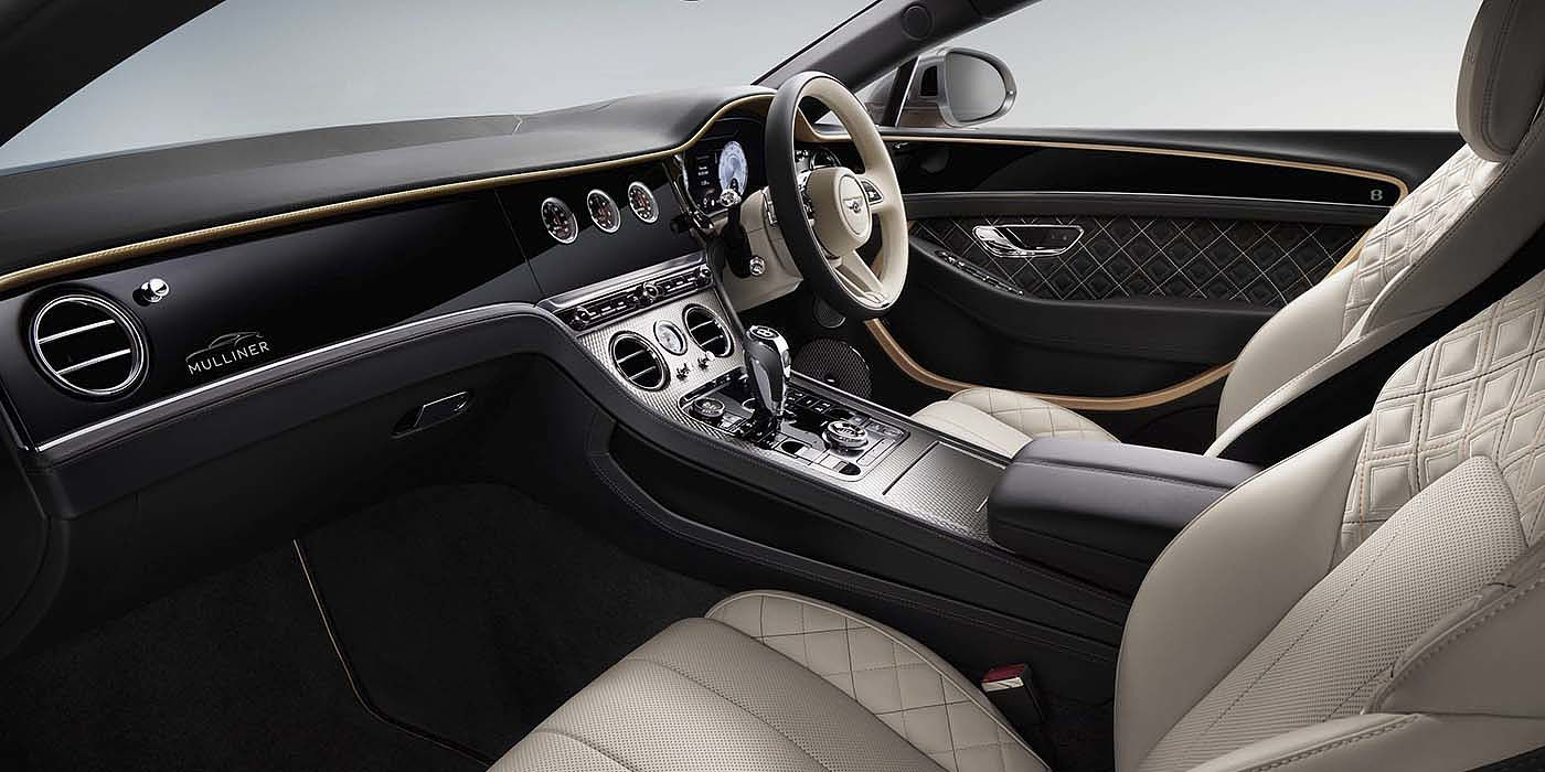 Bentley-Continental-GT-V8-Mulliner-front-interior-in-Beluga-black-Linen-and-gold-leather-colour